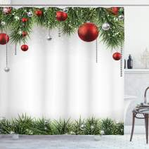 """Ambesonne Christmas Shower Curtain, Cloth Fabric Bathroom Decor Set with Hooks, Baubles Pine Tree, 70"""" Long"""