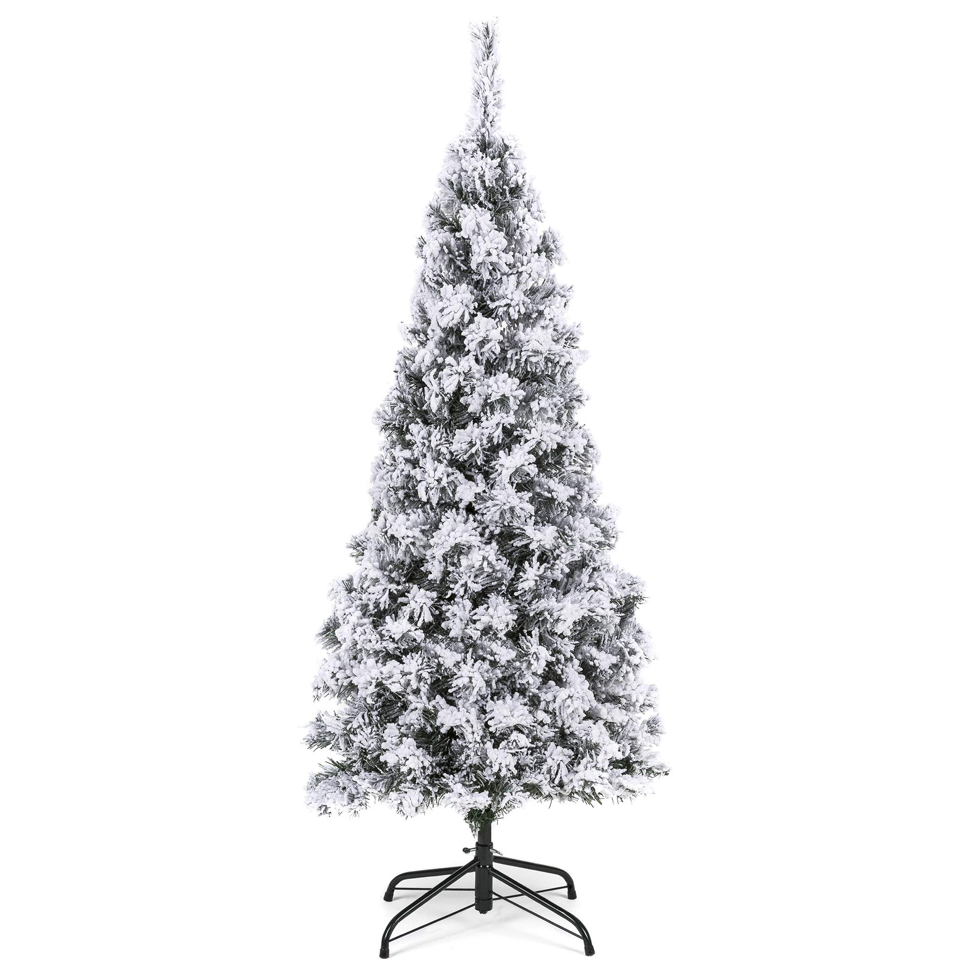 Best Choice Products 4 5ft Snow Flocked Artificial Pencil Christmas Tree Holiday Decoration W Metal Stand