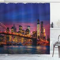"""Ambesonne New York Shower Curtain, NYC That Never Sleeps Reflections on Manhattan East River City Image Photo Print, Cloth Fabric Bathroom Decor Set with Hooks, 70"""" Long, Pink Blue"""