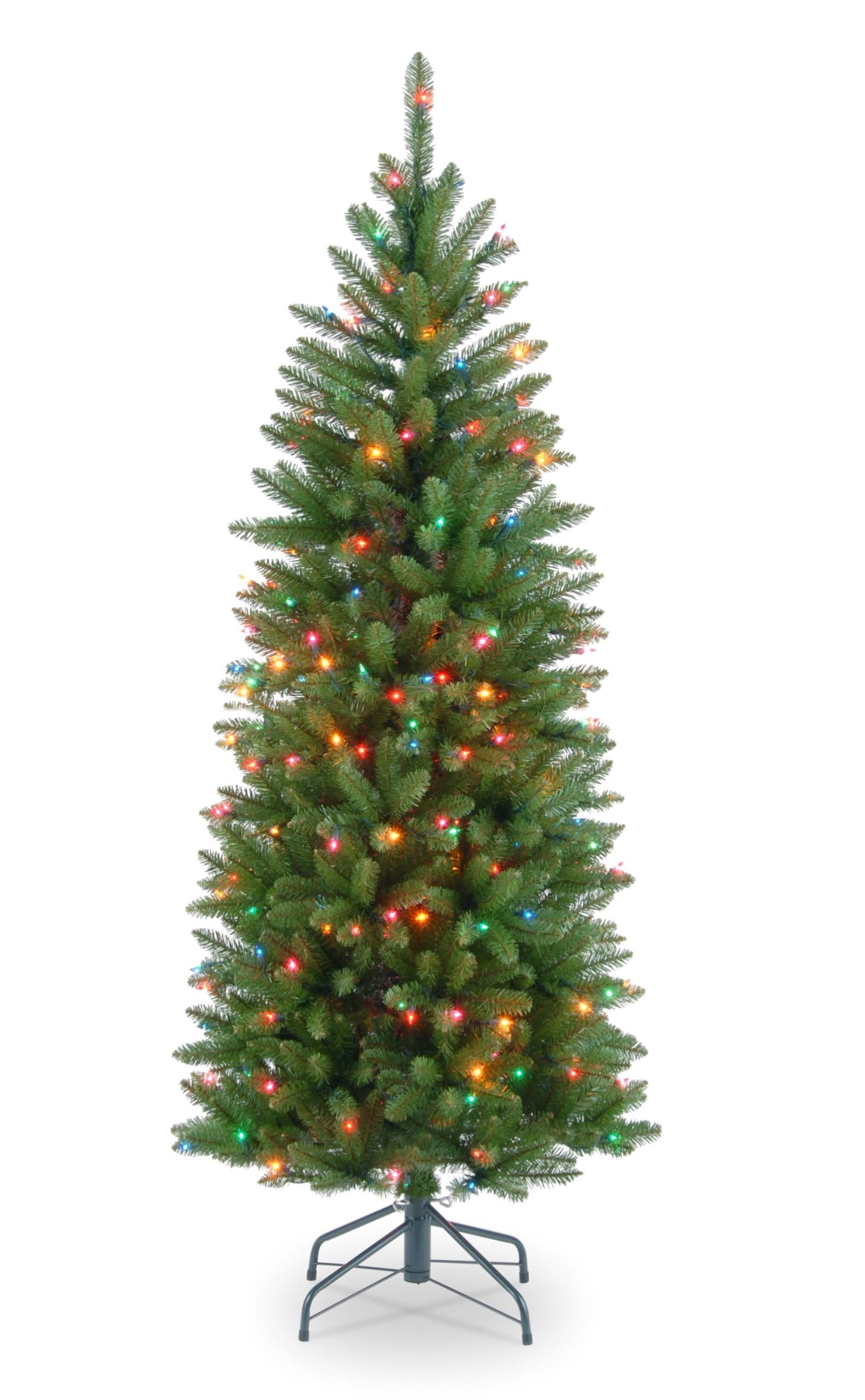 National Tree 4.5 Foot Kingswood Fir Pencil Tree with 150 Multicolor Lights, Hinged (KW7-313-45)