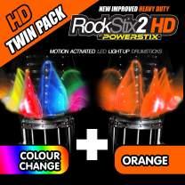 ROCKSTIX 2 HD ORANGE, BRIGHT LED LIGHT UP DRUMSTICKS, with fade effect, Set your gig on fire! (ORANGE and COLOR CHANGE TWIN PACK)