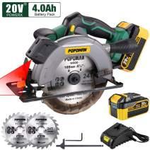 "POPOMAN Cordless Circular Saw, 4300 RPM, 20V 4.0Ah Battery, Fast Charger, 2 x Blade(6-1/2""), Adjustable Cutting Depth 2-1/16""(90°), 1-3/8""(45°), Laser & Base Plate Adjustable - MTW300B"