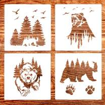 4 Pack (12x12 Inch) Painting Drawing Stencils Forest Bear and Claw Stencil for DIY Rock Painting Art Projects, Reusable