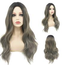 Peerless Grey Brown Wig 26 Inches Wavy Synthetic Wig Long Wig For Women Middle Part With Natural Hairline For Girls Daily Use Makup Costume Party Heat Resistant Fiber Brunette Colored Wig