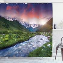 """Ambesonne Asian Shower Curtain, Colorful Overcast Sky Skirts Mt. Shkhara Svaneti Georgia Caucasus Mountains, Cloth Fabric Bathroom Decor Set with Hooks, 84"""" Long Extra, Green Blue"""