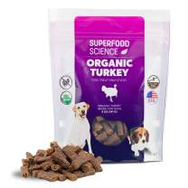 Superfood Science All Natural Organic Dog Treats, Turkey Dog Treats Made in USA Only, Grain Free Dog Treats with Immune Support, USDA Certified Organic, Non GMO, Gluten Free, 5 Oz Pouch