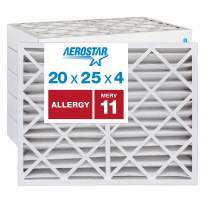 """Aerostar Allergen & Pet Dander 20x25x4 MERV 11 Pleated Air Filter, Made in the USA, (Actual Size: 19 1/2""""x24 1/2""""x3 3/4""""), 6-Pack"""