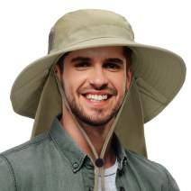 Fishing Hat with Neck Flap Cover Wide Brim Safari Hiking Cap for Men