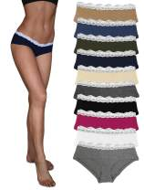 Sexy Basics Womens Lace Underwear Hipster Panties Cotton-Spandex/Ultra-Soft Cotton Stretch Underwear- 10 Pack