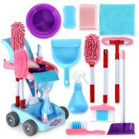 KLT Kids Cleaning Set, Pretend Play Detachable Housekeeping Cart, Montessori Toddler Toys, Cleaning Supplies Toy for Kids Toddler Boy and Girl with Kids Broom and Dustpan Set Cleaning Tools (Pink)
