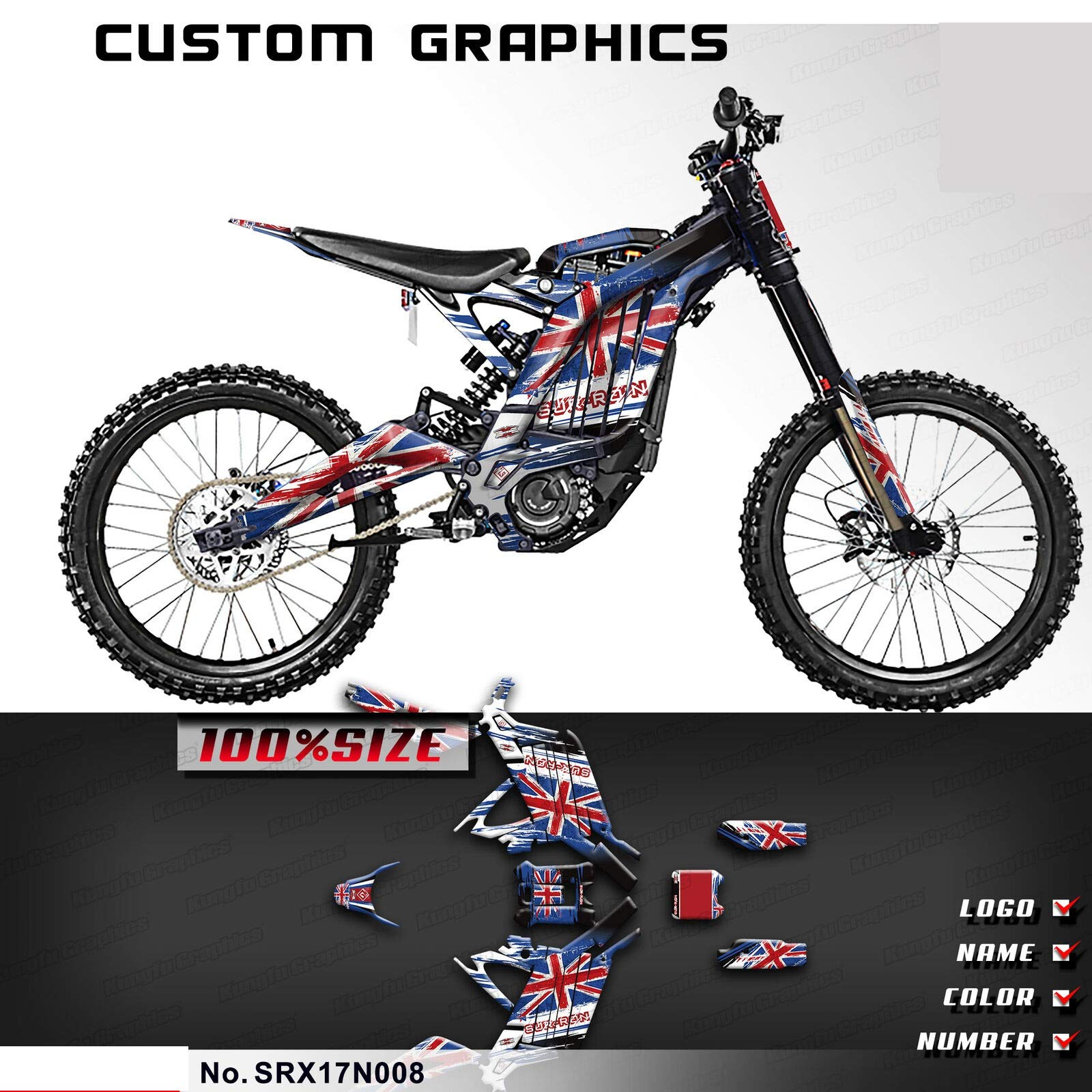 Kungfu Graphics Custom Decal Kit for Sur-Ron Light Bee X Electric Off-Road Motorcycle Dirt Bike, Blue, SRX17N008