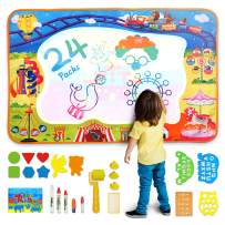 Aqua Doodle Mat Toy for Toddlers Age 2+, Extra Large Water Coloring Mat with 5 Magic Pens, Mess-Free Doodle Painting Toy Educational Toys for Girls Boys Kids Age of 2 3 4 5 6 7 8