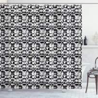 """Ambesonne Abstract Shower Curtain, Asymmetric Greyscale Pattern Optical Tessellation with Overlapping Shapes, Cloth Fabric Bathroom Decor Set with Hooks, 70"""" Long, White Black"""