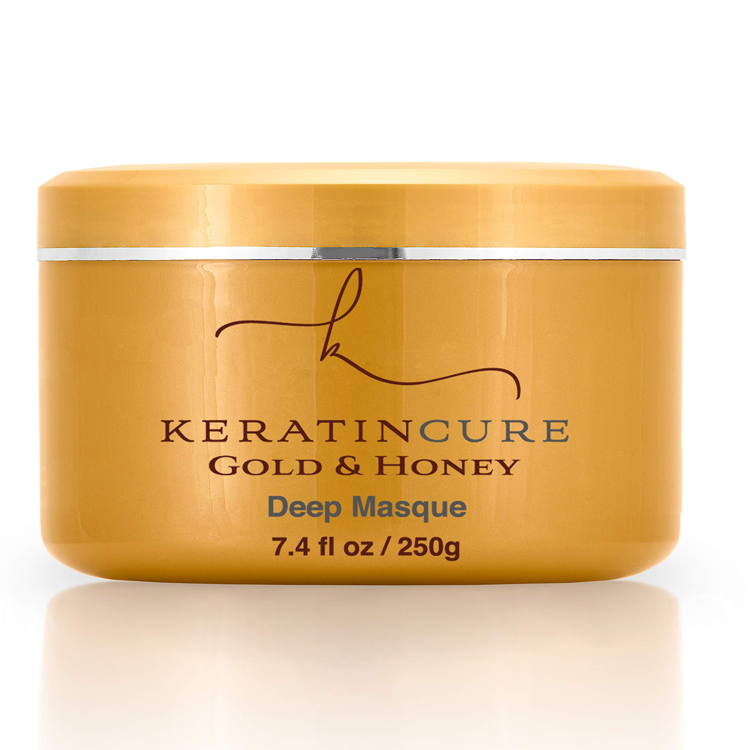 Keratin Cure Gold and Honey Deep Hair Mask Masque Conditioning Strengthen Dry Damaged Promotes Growth Relieves Scalp for all hair Moisturizing Reparation, Argan, Coconut, Marula Women Men Beards 8 Oz