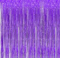 Purple Foil Fringe Backdrop - Pack of 2   Shiny Metallic Tinsel Foil Curtain   Ideal for Bridal Shower, Wedding, Birthday, Christmas, New Year   Door Windows Wall Decoration