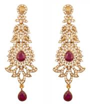 Touchstone Indian Bollywood paisley Rhinestone designer bridal jewelry earrings for women in antique gold tone