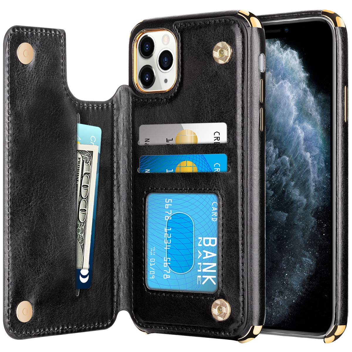HianDier Wallet Case for iPhone 11 Pro Max Card Holder Case Double Magnetic Clasp Flip Cover Soft PU Leather Kickstand Dual Layer Shockproof Wallet Case for 2019 6.5 Inch iPhone 11 Pro MAX, Black