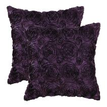 CaliTime Pack of 2 Cushion Covers Throw Pillow Cases Shells for Couch Sofa Home Solid Stereo Roses Floral 20 X 20 Inches Deep Purple