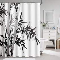"VVA Bamboo Tree Fabric Shower Curtain, Illustration in Traditional Chinese Calligraphy Style, Asian Culture, Modern Cloth Decor Set with Hooks for Bathroom, 72"" Long, Charcoal Grey Black and White"