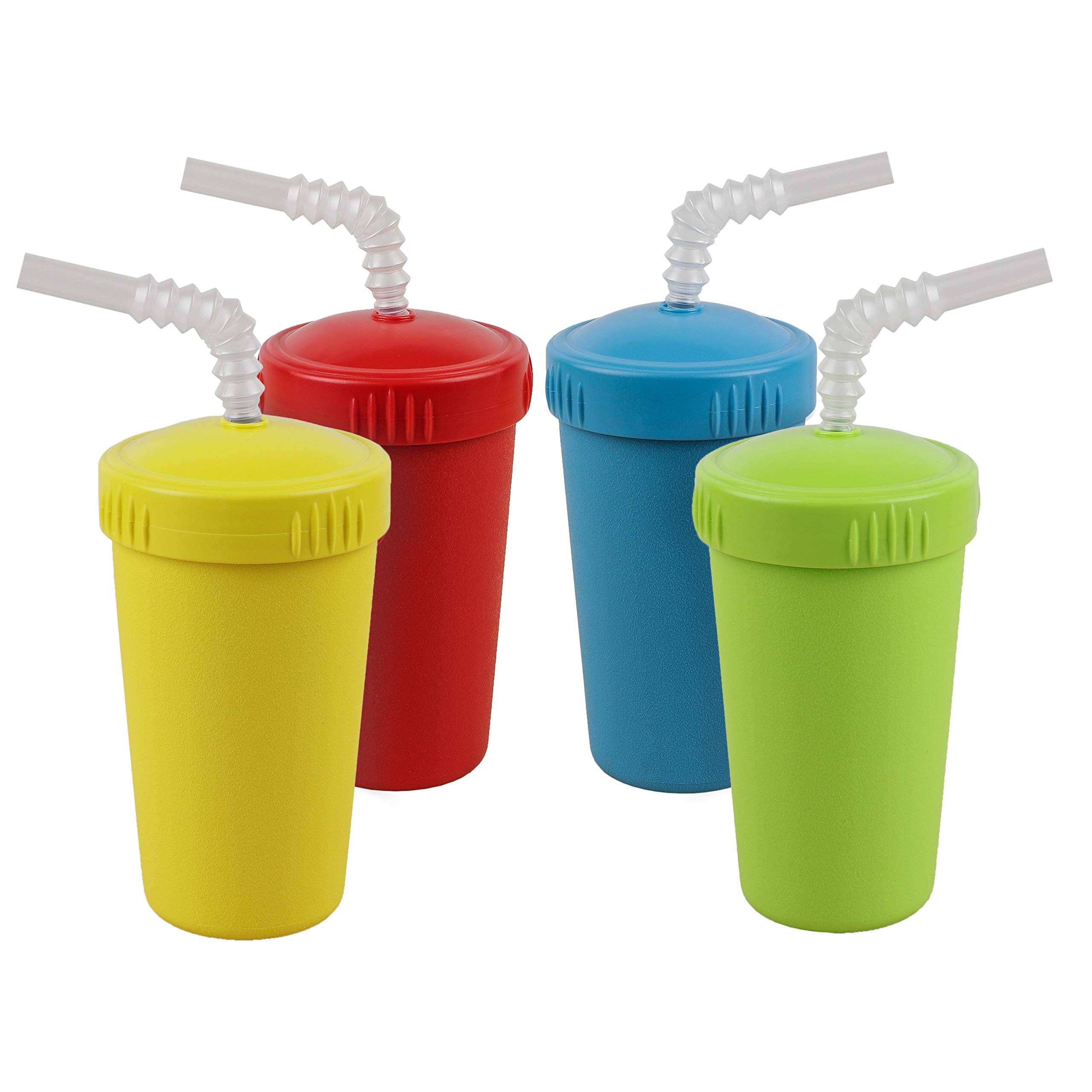 Re-Play Made in USA 4pk Straw Cups with Bendable Straw in Sky Blue, Red, Lime Green and Yellow   Made from Eco Friendly Heavyweight Recycled Milk Jugs - Virtually Indestructible (Preschool+)