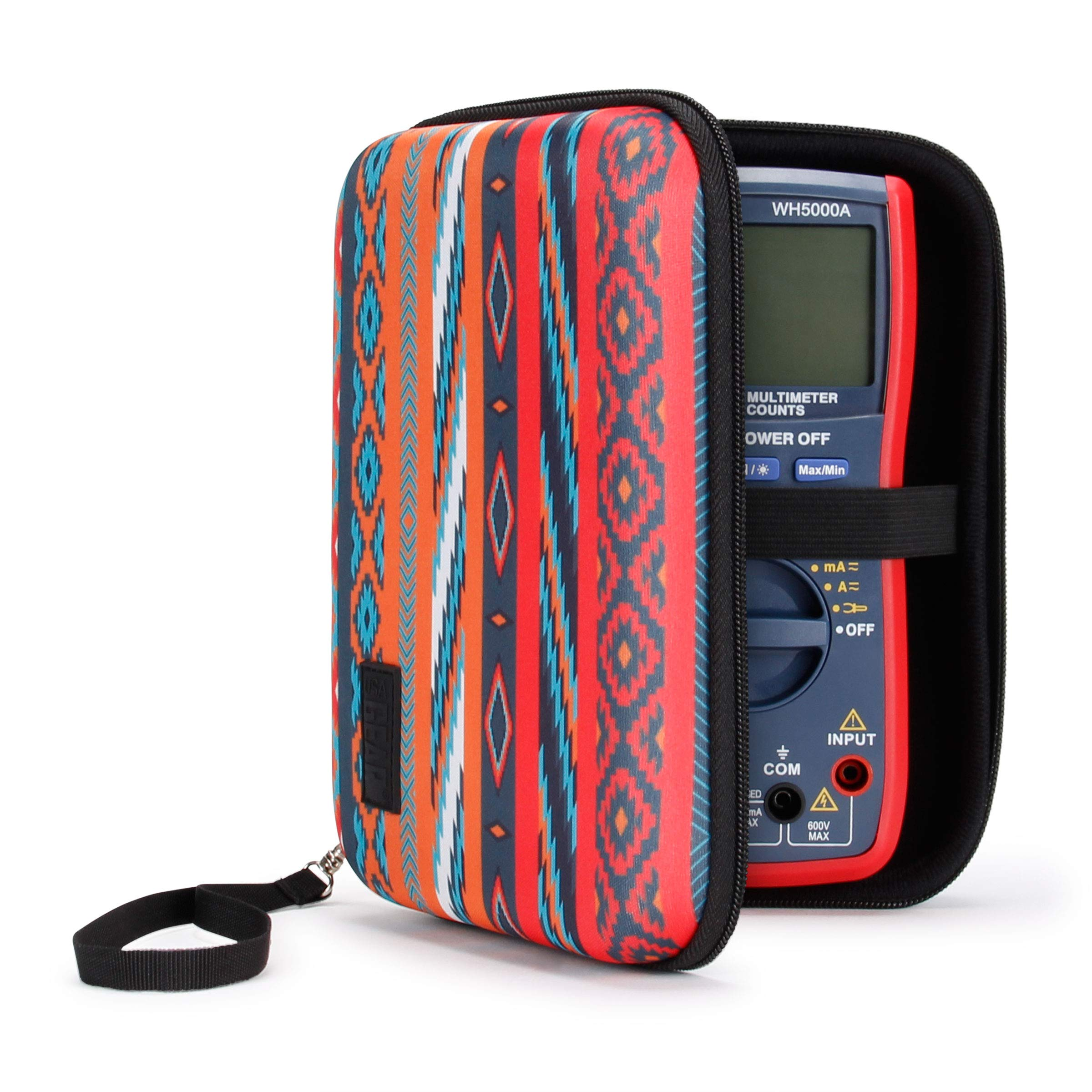 USA Gear Hard Digital Multimeter Carrying Case - Voltage Tester Travel Case, Weather Resistant, Wrist Strap, Storage for Leads and Probes - Compatible with Fluke, AstroAI WH5000A and More - Southwest