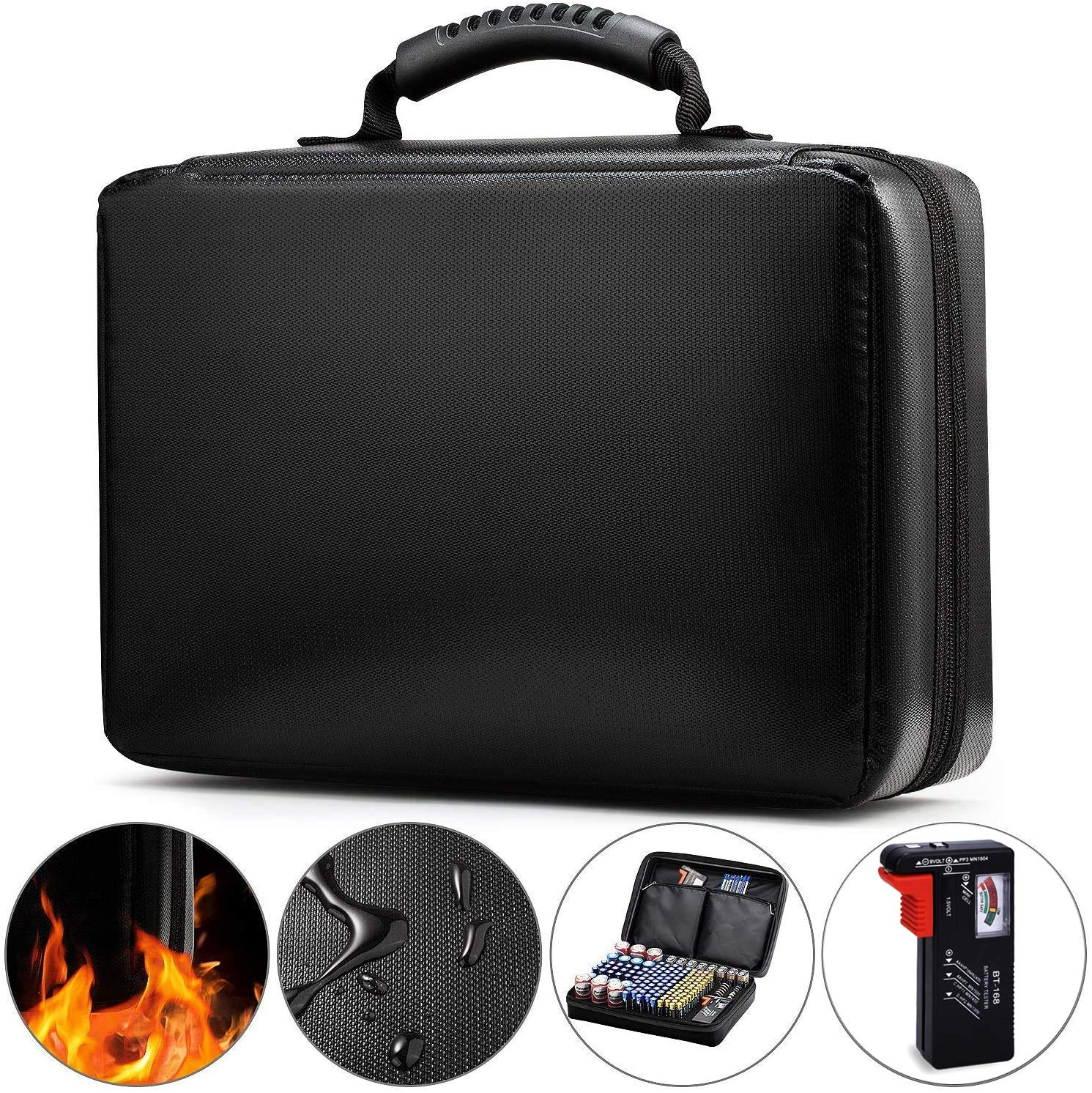 Anyoneer Battery Organizer Storage Box, Fireproof, Waterproof, Extra Large Hard Carrying Case with Zippers - Holds 200+ Batteries AA AAA C D 9V - Battery Storage Case, with Battery Tester BT-168