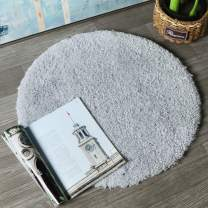 HAOCOO Round Bathroom Rugs, 2ft Non-Slip Luxury Bath Shower Mat Shaggy Area Rug,Water Absorbent, Machine-Washable, Soft Thick Plush Bath Floor Carpet for Living Room Bedroom, Light Gray