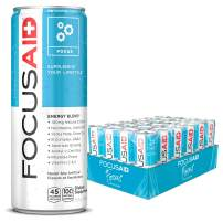 FOCUSAID Energy Blend | Nootropics Drink for Brain Fuel | Alpha-GPC, GABA, B-Complex, Yerba Mate, Green Tea | 100% Clean |100mg Natural Caffeine | 12-oz. cans (Value Pack of 24)