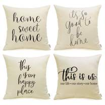 Meekio Pillow Covers 18 x 18 Set of 4 Farmhouse Decorative Throw Pillow Covers with Quotes for Farmhouse Décor Housewarming Gifts for New Home