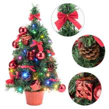 EFORINK Mini Christmas Tree 22 inch Tabletop Prelit Christmas Tree with Multicolored LED Lights, Pinecone, Gift Box, Bowknot and Christmas Ball Ornaments for Home and Office Decoration, 55cm, Red