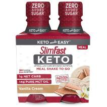 SlimFast Keto Vanilla Shake - Ready to Drink Meal Replacement, 4 count of 11 Fl Oz Bottle Each, 44 Fl Oz