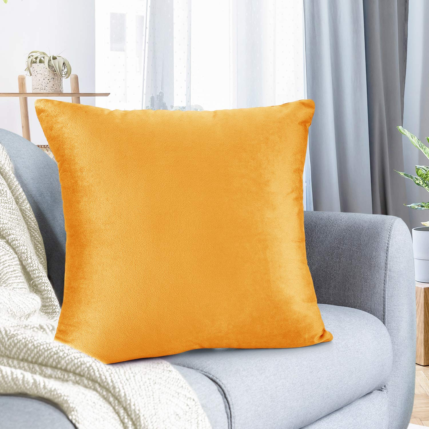 """Nestl Bedding Throw Pillow Cover 20"""" x 20"""" Soft Square Decorative Throw Pillow Covers Cozy Velvet Cushion Case for Sofa Couch Bedroom - Orange"""