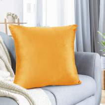 "Nestl Bedding Throw Pillow Cover 24"" x 24"" Soft Square Decorative Throw Pillow Covers Cozy Velvet Cushion Case for Sofa Couch Bedroom - Orange"