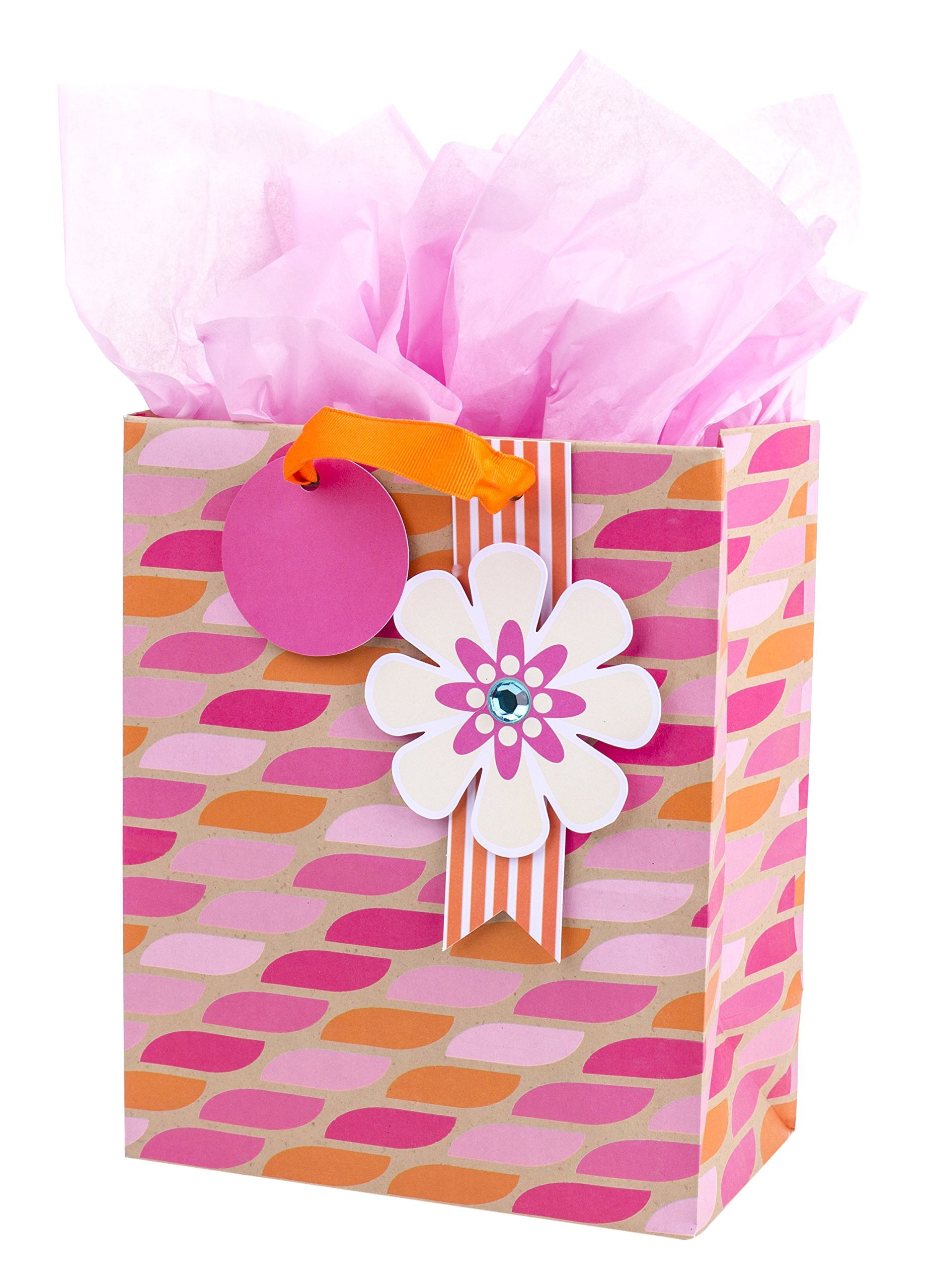 "Hallmark 9"" Medium Gift Bag with Tissue Paper (Pink & Orange with Flower) for Birthdays, Mother's Day, Bridal Showers, Baby Showers or Any Occasion"