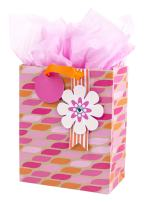 """Hallmark 9"""" Medium Gift Bag with Tissue Paper (Pink & Orange with Flower) for Birthdays, Mother's Day, Bridal Showers, Baby Showers or Any Occasion"""