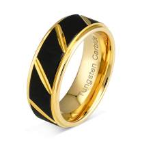 100S JEWELRY Tungsten Rings for Mens Wedding Bands Black Matte Multiple Grooves Size 6-16