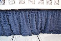Navy Blue Crib Bed Skirt Dust Ruffle, Luxury Bedding Baby Girl, Mermaid, Unicorn, Boho Style Nursery and Toddler Bedroom