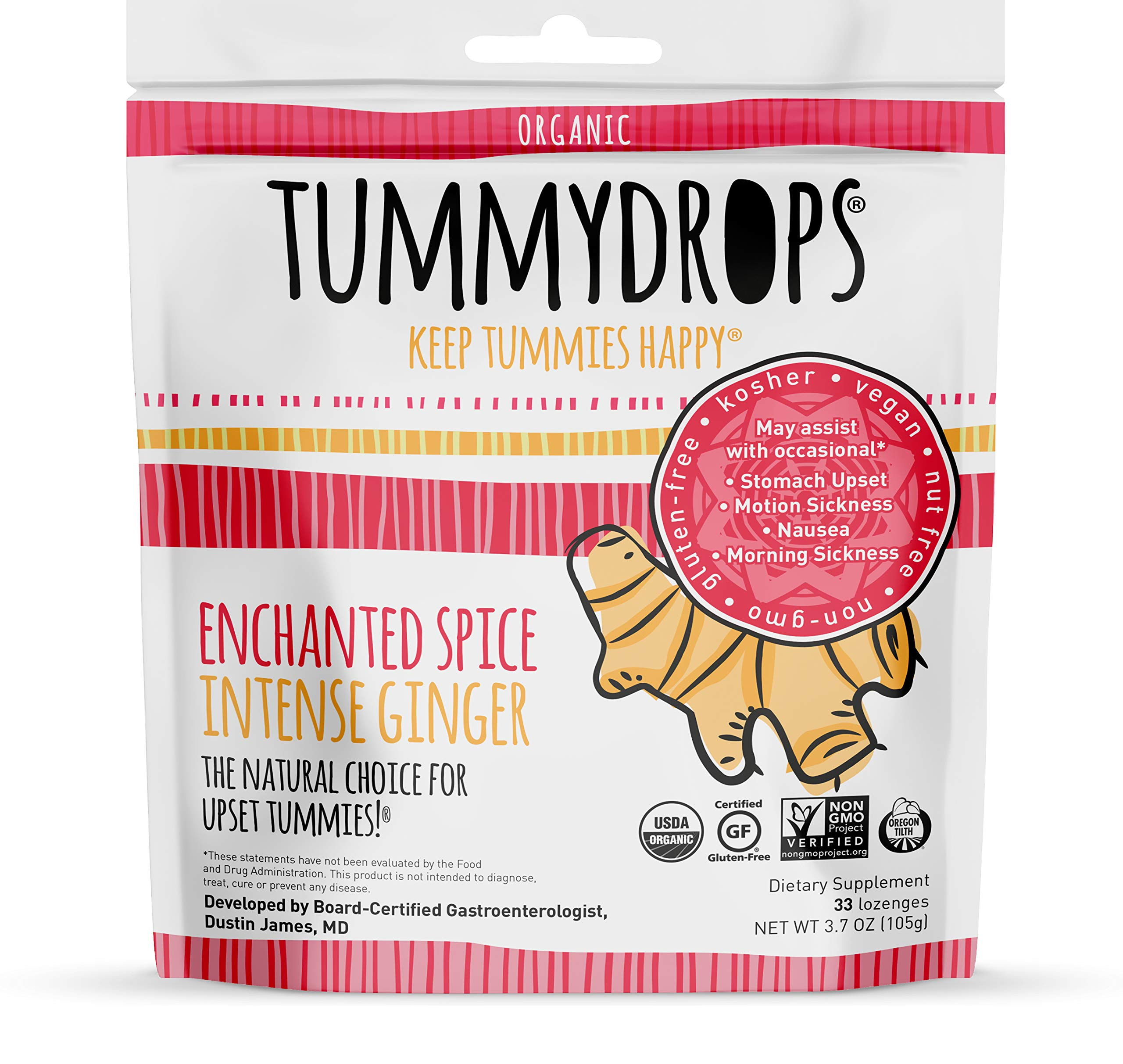 USDA Organic Enchanted Spice Intense Ginger Tummydrops (Resealable Bag with 33 Individually Wrapped Drops) Certified by Oregon Tilth Organic, GFCO Gluten-free, Non-GMO Project, and Kof-K Kosher