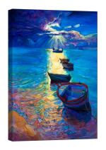 LightFairy Glow in The Dark Canvas Painting - Stretched and Framed Giclee Wall Art Print - Boats in The Sun - Master Bedroom Living Room Decor - 6 Hours Glow - 24 x 36 inch
