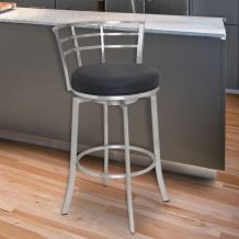 "Armen Living Viper 30"" Bar Height Swivel Barstool in Black Faux Leather and Brushed Stainless Steel Finish"