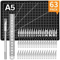 63-PACK Exacto Knife Carving Kit Craft Knife 60PCS Carving Blades with 1PC Craft Knifes,1PC A5 Self Healing Cutting Mat,1PC Steel Ruler for Arts DIY,Scrapbooking,Hobby Jetmore
