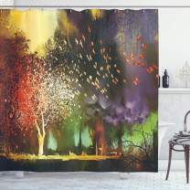 """Ambesonne Fantasy Shower Curtain, Fairy Forest with Mysterious Trees and Birds Supernatural Vivid Wonder World, Cloth Fabric Bathroom Decor Set with Hooks, 84"""" Long Extra, Yellow Purple"""