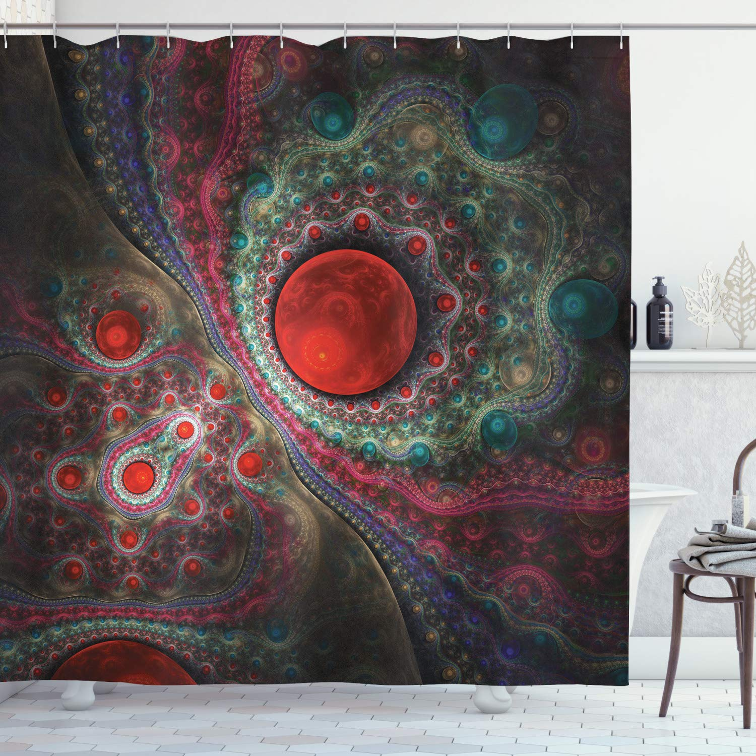 """Ambesonne Pearls Shower Curtain, Round Circle Object Motifs Sphere Forms Vintage Medieval Design Pearls Oyster Dark, Cloth Fabric Bathroom Decor Set with Hooks, 75"""" Long, Red Green"""