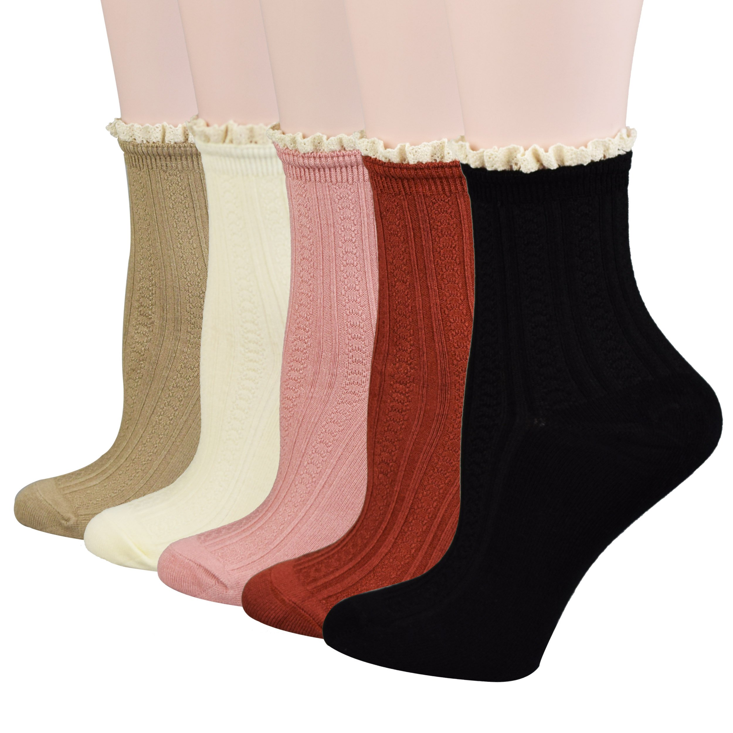 Fitu Women's Vintage Ruffle Frilly Cute Rayon Bamboo Boot Socks 5 Pairs Pack in Gift Box