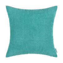 CaliTime Cozy Throw Pillow Cover Case for Couch Sofa Bed Comfortable Supersoft Corduroy Corn Striped Both Sides 24 X 24 Inches Turquoise