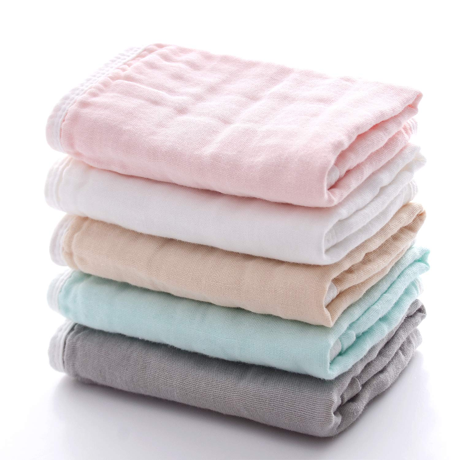 MUKIN Baby Bath Washcloths - [High Density] Muslin Baby Washcloth for Newborn. Ultra Soft and Absorbent Wash Cloths for Babies  Reusable Baby Wipes for Baby Sensitive Skin (5 Pack)