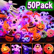 50 Pcs Halloween LED Glow Ring,Light Up Toys Glow in the Dark Birthday Halloween Party Favors Decorations Supplies for Kid/Adults Flash Finger Rubber Rings 8 Shape Ghost Pumpkin Skeleton Spider Bat
