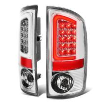 Pair of Chrome Housing Clear Lens 3D Stripe LED Bar Brake Tail Lights Replacement for Dodge Ram 1500/2500/3500 02-06