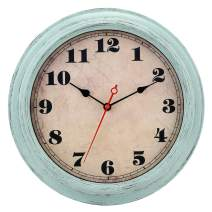Wall Clock Vintage Retro 12 Inch Silent Non-Ticking Quartz Decorative Wall Clocks Battery Operated with Large Numbers&HD Glass Easy to Read for Kitchen Office Bedroom Bathroom