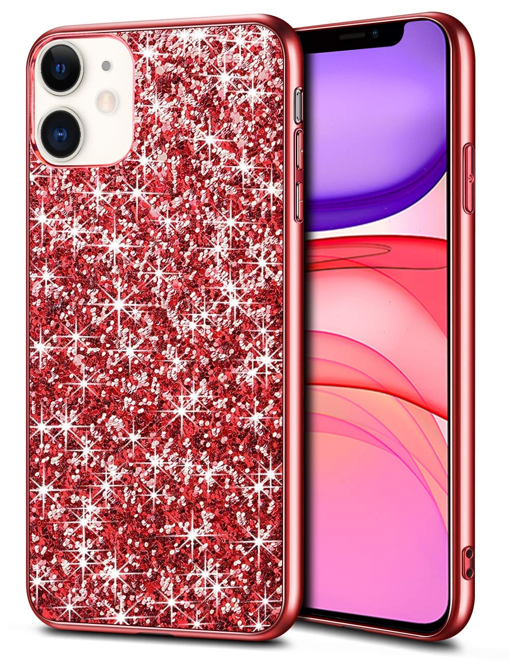 Wollony Case for iPhone 11 Case Glitter Sparkle Bling Shiny Phone Case for Girl Ultra Slim Durable Hybrid TPU Shockproof Bumper Hard Anti-Slip Back Protective Cover for iPhone 11 6.1inch Red